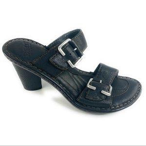 Born Sandal Heels w/ Buckles in Black